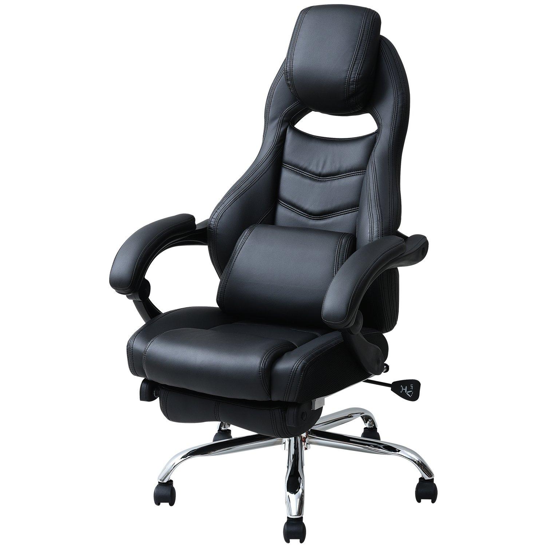 山善(YAMAZEN) オフィスチェア ゲーミングチェア フットレスト 一体型 クッション 付き リクライニング 無段階170度 ブラック/ネイビーブルー MFR-89(NBL) B01N6NPQSV ブラック/ネイビーブルー|チェア単品 ブラック/ネイビーブルー