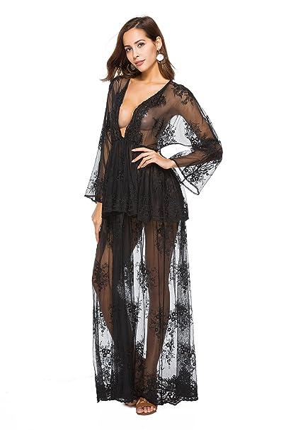 Santwo Fashion Sexy - Bañador de encaje floral para playa, vestido largo Negro Black A-0040 Talla única: Amazon.es: Ropa y accesorios