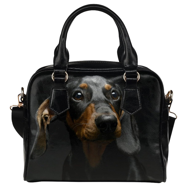 CASECOCO Sad Dachshund Dog Black Women's PU Leather Purse Handbags Shoulder Bag