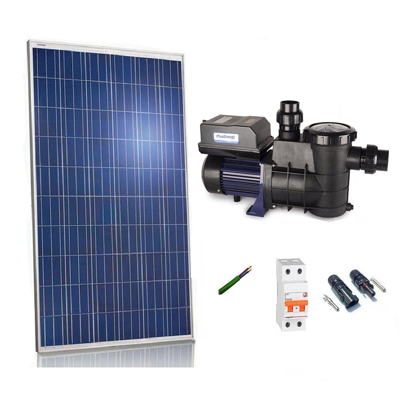 Kit Bomba depuradora solar para piscina PlusEnergy 370w 24v 2/1HP Bomba directo a solar