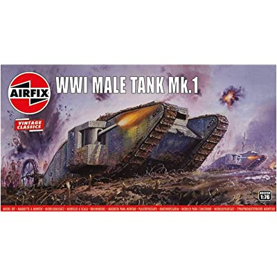Airfix WWI Male Tank MK I 1:76 Vintage Classics Military Plastic Model Kit A01315V: Toys & Games