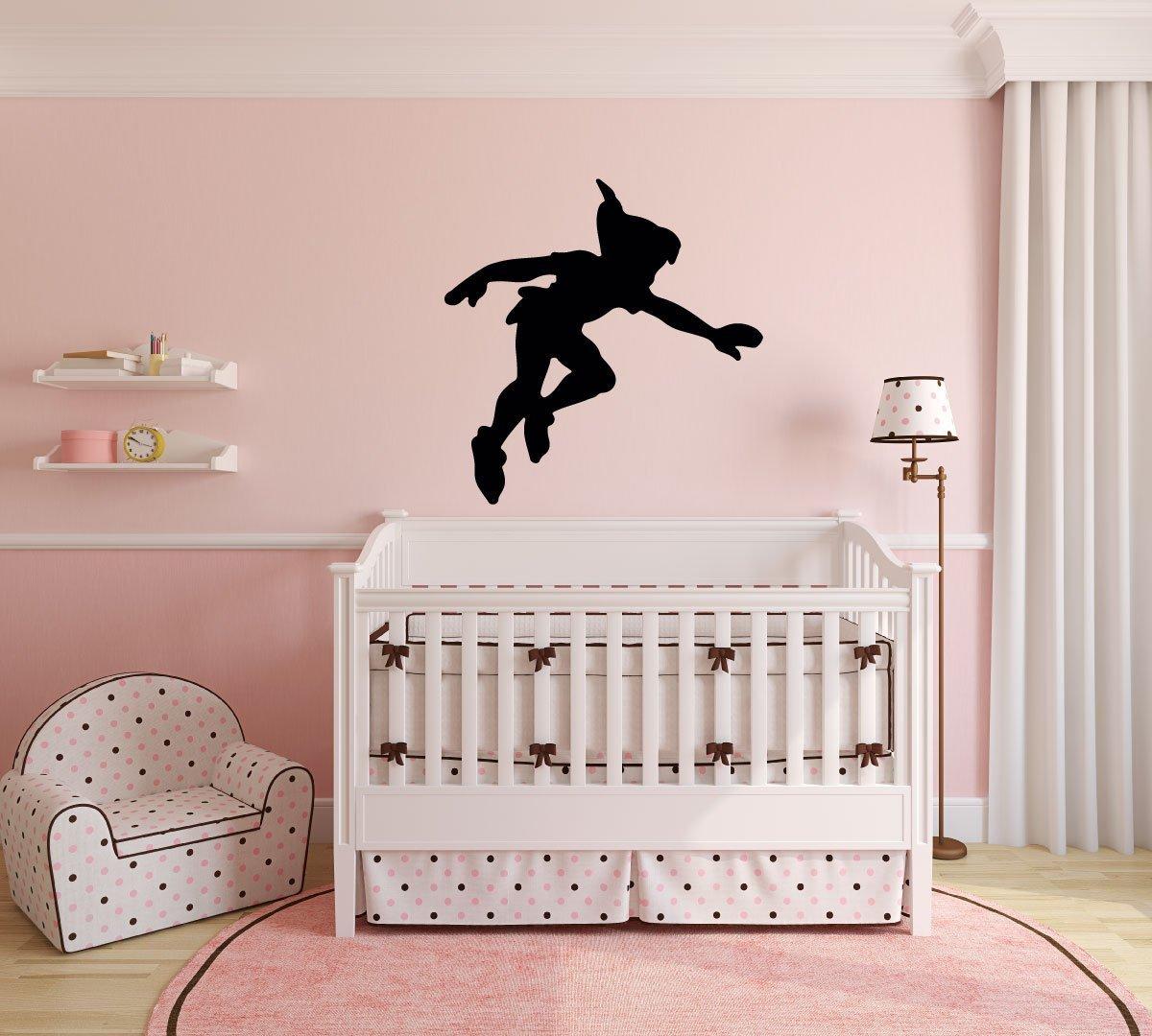 Peter Pan Wall Decal Vinyl Sticker, Disney Shadow Character Art Silhouette for Kids Playroom, Bedroom, Nursery