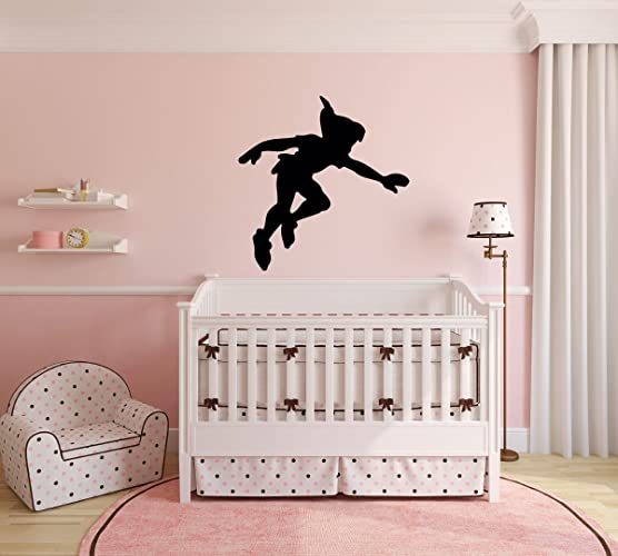 Elegant Peter Pan Wall Decal Vinyl Sticker, Disney Shadow Character Art Silhouette  For Kids Playroom,