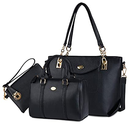 COOFIT Bolsos Mujer, Bolsos Cuero Bolso Bandolera Bolso Tote Bag Bolsos Shopper Bolso Bowling Bolsos de Mano Set Bolsos de Mujer (Negra)
