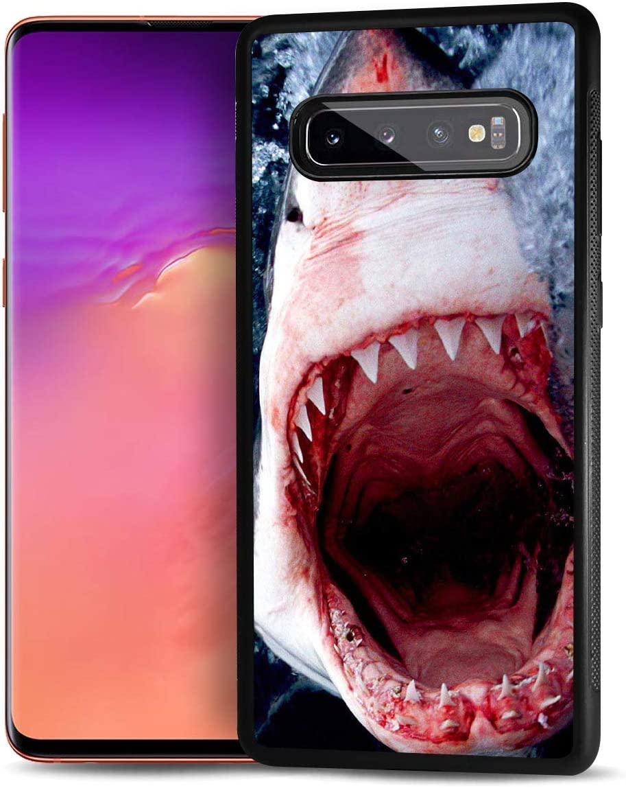 for Samsung S10+, Galaxy S10 Plus, Durable Protective Soft Back Case Phone Cover, HOT13133 Shark Tooth