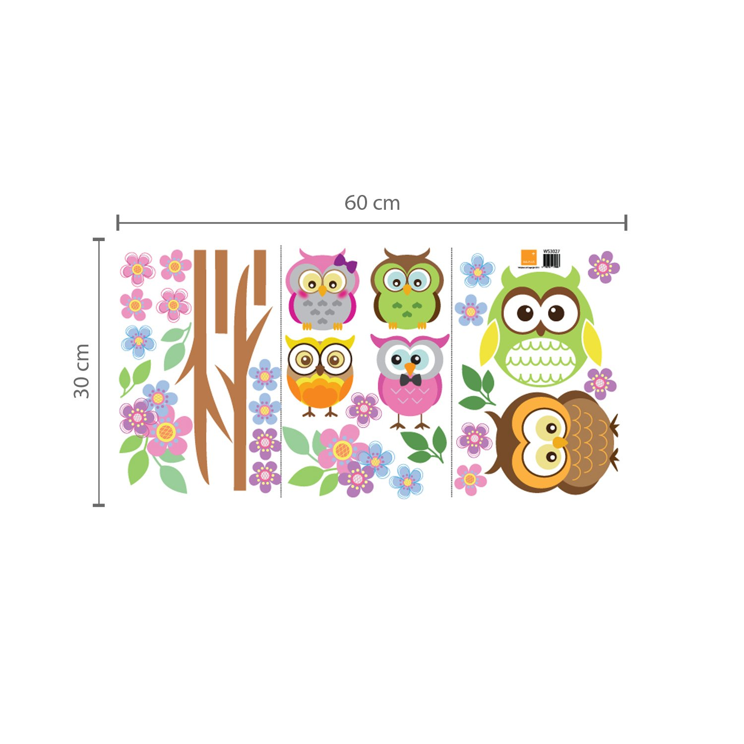 Walplus 100x60 cm wall stickers owl flower tree removable self adhesive mural art decals vinyl home decoration diy living bedroom office décor wallpaper