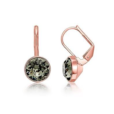 b650f771e Amazon.com: MYJS Bella Earrings w/ 2 Carat Swarovski Black Diamond Crystals  Rose Gold Plated: Jewelry