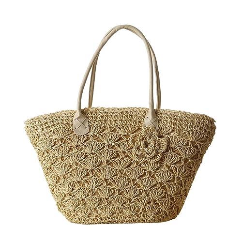 e531709a03 YOUJIA Donne Borse Di Spiaggia Paglia Intrecciata Handbag Borse Shopper  Tote Borsa Spalla (Beige)