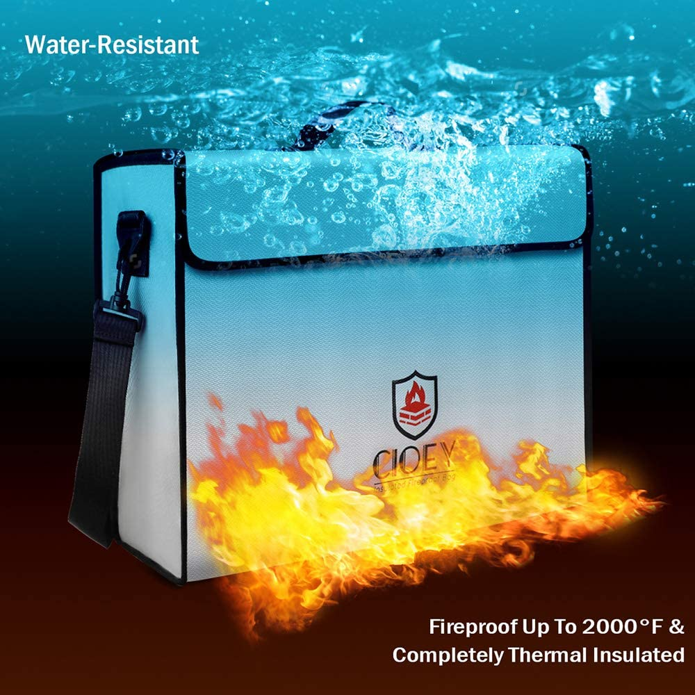 Fireproof Document Bags - Fireproof Box [Thermal Insulated] Fireproof Safety Boxes for Home Large Fireproof Bag Lockable Zipper Fireproof Safe Box Home Safes Fireproof Waterproof Fireproof Money Bag: Office Products