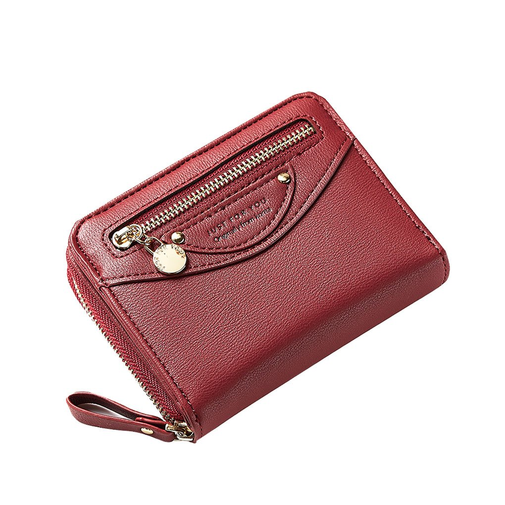Small Compact Bifold Leather Pocket Wallet Purse for Women Clutch with ID Window Zipper Pocket Coin Card Cash Winered