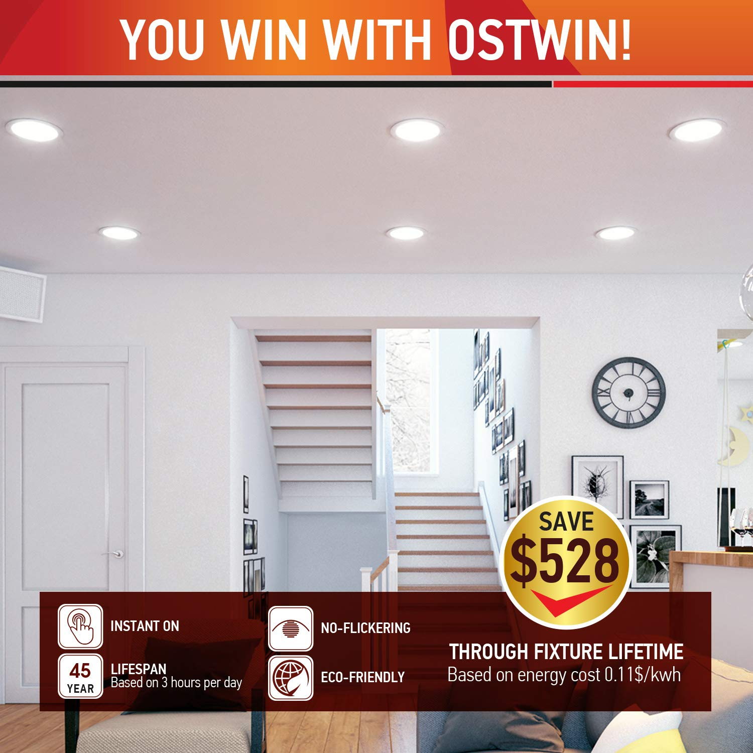 OSTWIN 12 inch 24W (120 Watt Repl.) IC Rated LED Recessed Low Profile Slim Round Panel Light with Junction Box, Dimmable, 3000K Warm Light 1800 Lm. No Can Needed, 12 Pack ETL & Energy Star Listed by OSTWIN (Image #6)