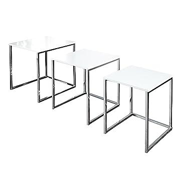 Design Beistelltisch 3er Set Fusion Hochglanz Weiss Chrom Amazonde