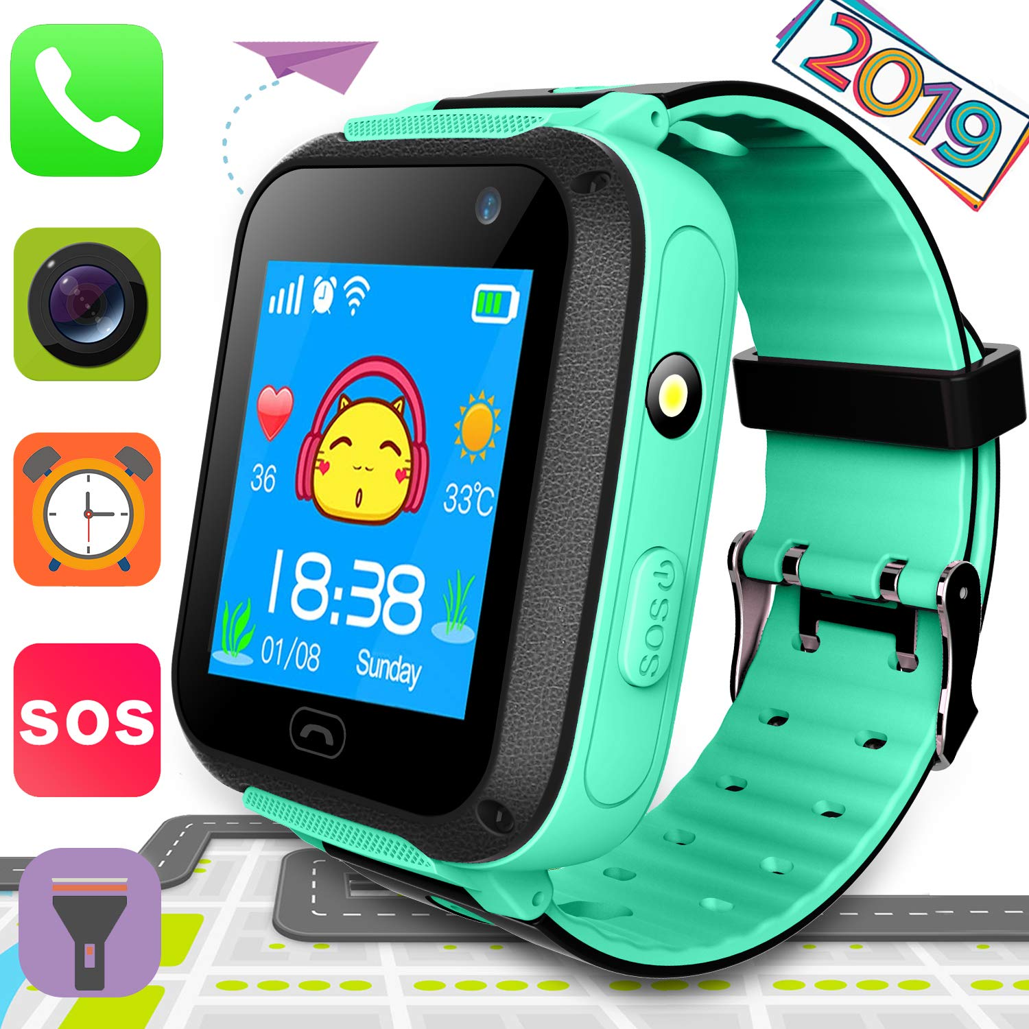 Smart Watch for Kids Boys Girls with GPS Tracker SOS Anti Lost Alarm Touch Screen Phone Watch Voice Chat Remote Camera Flashlight Long Standby ...