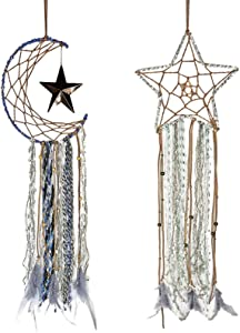 Rozwkeo 2 pcs Blue Dream Catcher Handmade Half Circle Moon Star Design Dream Catcher Feather Hanging for Home Kids Nursery Boys Girls Teen Bedroom Decoration Ornament Wal Decor Festival Gift