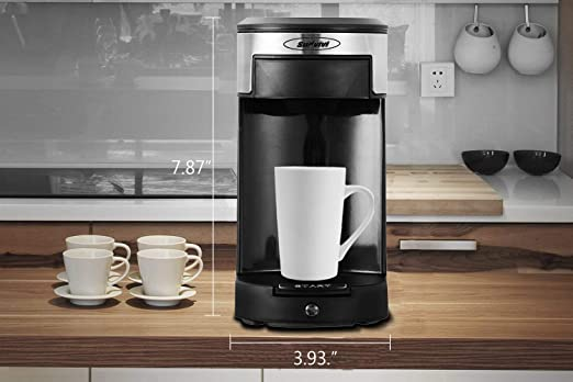 Stamo Single Serve Coffee Maker Auto Shut Off Multi-Use Coffee Brewer for Most Single Cup Pods Black B07DJD9SD1 10OZ One-Touch Button Coffee Machine Single-Serve Brewers for Capsule Quick Brew Technology