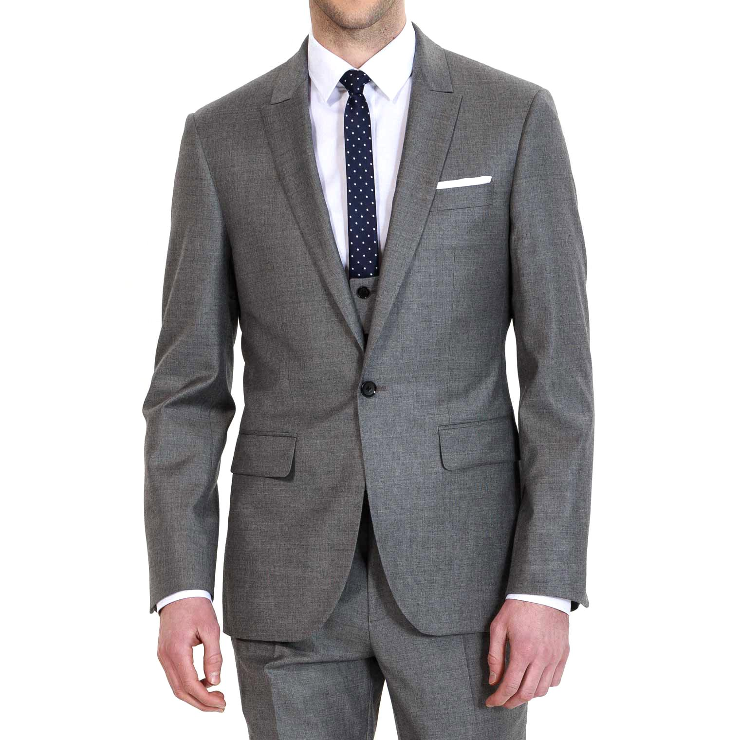 HBDesign Mens 3 Piece 1 Button Notch Lapel Slim Trim Fit Business Suite Grey 44R