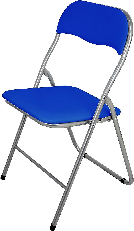 La Silla Española Sevilla - Silla plegable en aluminio con asisento y respaldo acolchados en PVC, Azul, 78x43,5x46 cm: Amazon.es: Hogar