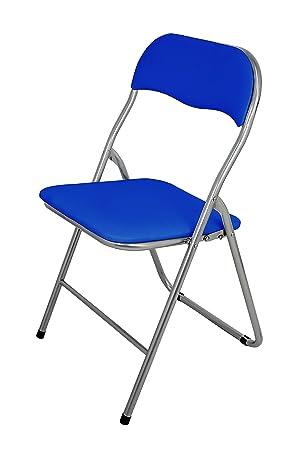La Silla Española Sevilla - Silla plegable en aluminio con asisento y respaldo acolchados en PVC, Azul, 78x43,5x46 cm