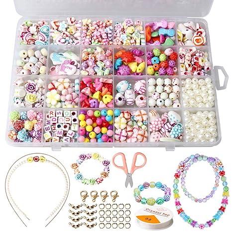 92f73bfa5b9dd SUMAJU Beads Set, Children DIY Beads Jewelry Making Set Necklace Bracelets  Colorful Acrylic Crafting Beads Kit for Kids