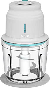 Electric Cordless Food Chopper, Olrid Mini Food Processor 2.5 Cup, Meat Chopper, for Chop Onion Garlic Vegetable Nut, Baby Food, 2-Speed Adjustable, BPA Free Glass Bowl - White