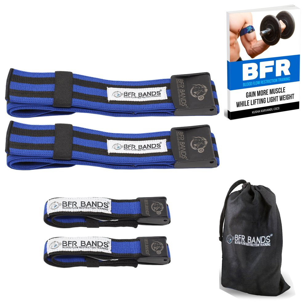 BFR BANDS Occlusion Training Bands, PRO Bundle, 4 Pack for Arms and Legs, Blood Flow Restriction Bands Help You Gain Muscle Without Lifting Heavy Weights, Strong Elastic Strap + Quick-Release Exerscribe