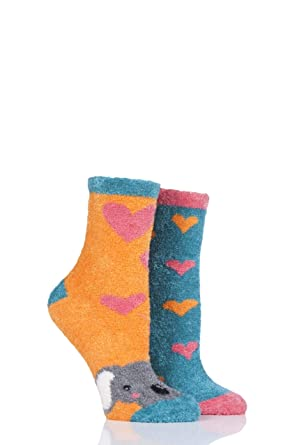 Ladies 2 Pair SockShop Wild Feet Penguin Fluffy Cosy Socks