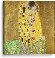 Cuadro decorativo de canvas (lienzo), El beso - Gustav Klimt - Arte famoso & Colorido, montado en bastidor de madera de 4.5
