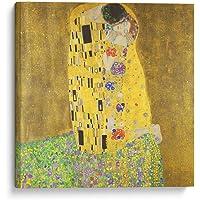 Cuadro decorativo de canvas (lienzo), El beso - Gustav Klimt - Arte famoso & Colorido, montado en bastidor de madera de 4.5 cm de profundidad (estilo galería). Tamaños adicionales disponibles. Perfecto para decorar casa u oficina, y especial para Sala & Dormitorio. 100% Garantizado.