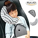 DODYMPS Car Seat Travel Pillow Neck Support Cushion Pad and Seatbelt Adjuster for Kids, Safety Belt Sleeping Pillow and Adjuster for Cars, Safety Strap Covers (Pack of 2)