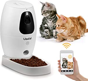 Vmotal Pet Camera with Automatic Cat Feeder for Cat and Dog Full HD Video with Night Vision, 2-Way Audio,Sound/Motion Alerts, WiFi Monitor Pet Remotely with Phone App