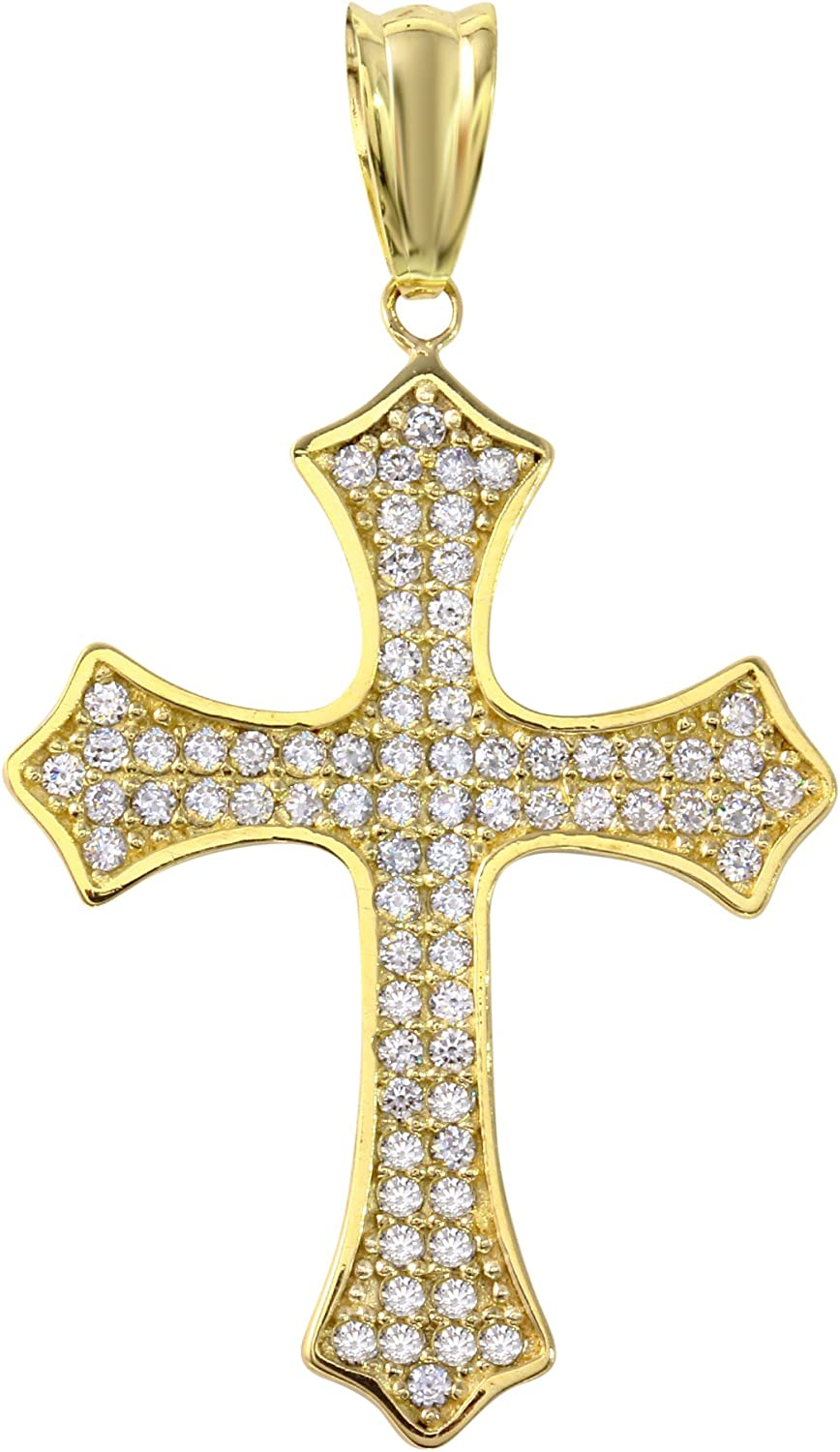 JewelryAmerica 14k White Gold Textured Eastern Orthodox Cross Charm Pendant Necklace