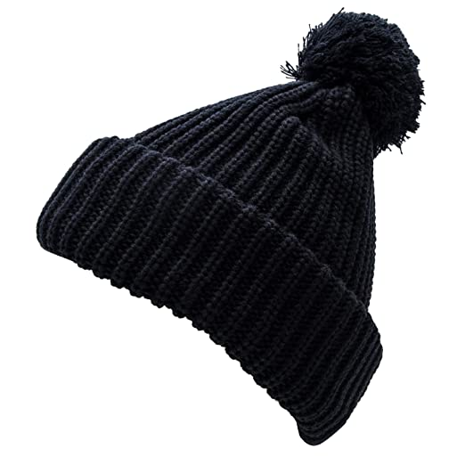 fa7ece73774 Heat Logic Womens Winter Black Beanie (Black Basic Knit with Pom) Black  Winter Hats
