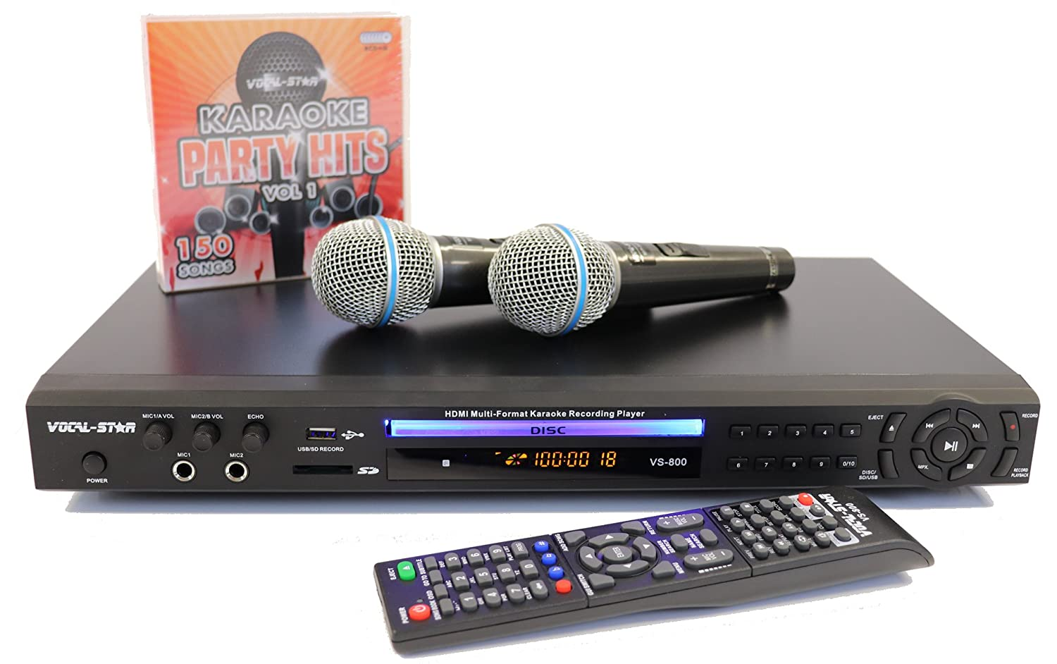 VOCAL-STAR VS-800 HDMI - KARAOKE MULTIFORMATO CON 2 MICRóFONOS, 150 songs
