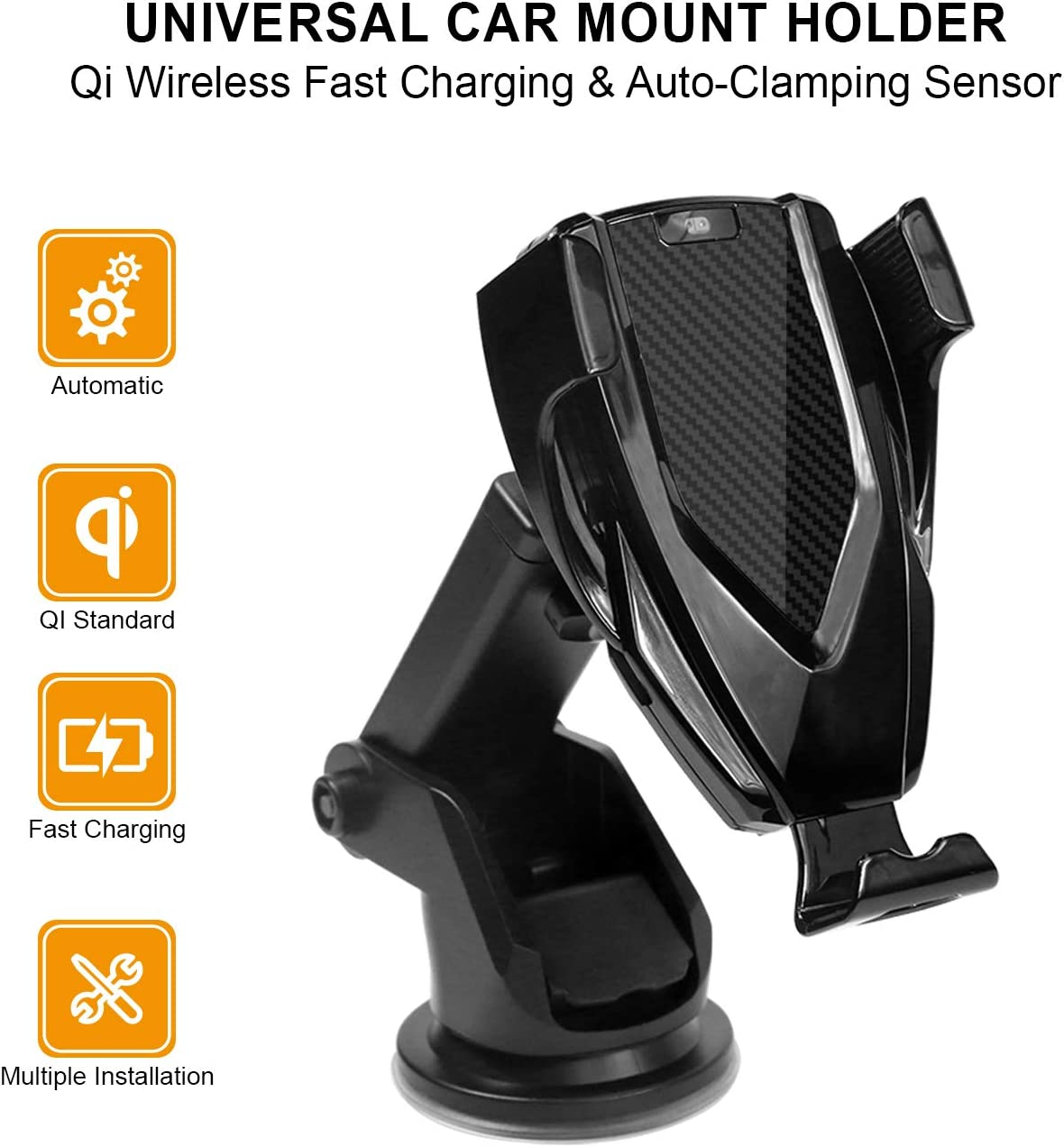 """Auto Clamping Car Phone Mount 360 Degree Rotation Windshield Dash Air Vent Holder for 4.0/""""-6.5 iPhone Samsung Qi Wireless Car Charger Jabees Automatic Sensor Car Phone Holder and Charger"""