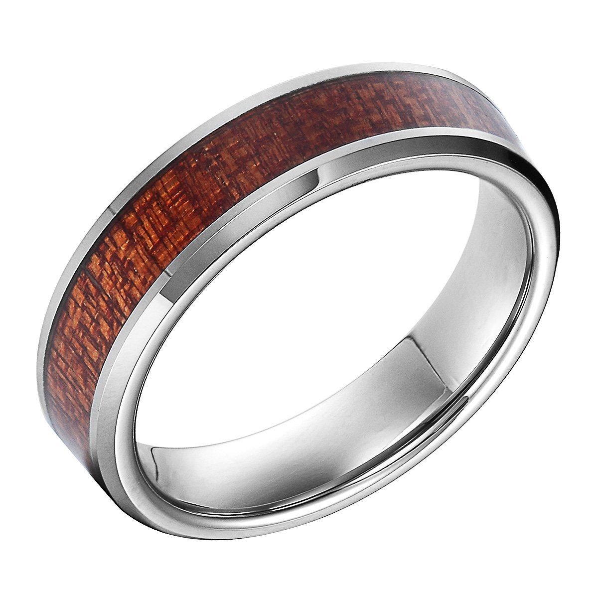 6mm Tungsten Carbide Inlay Wood Grain Bevel Edge Comfort Fit Couple Anniversary/Engagement/Wedding Band Ring (9)