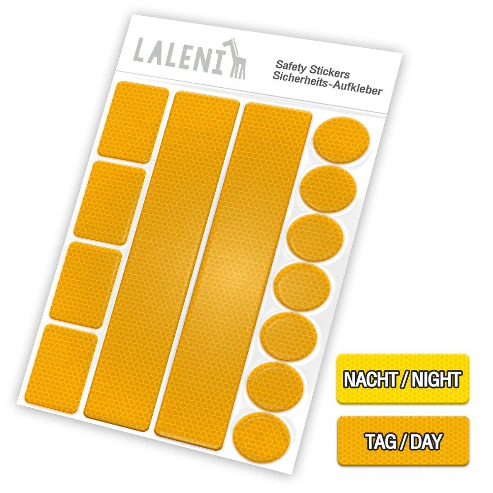 13 teiliges Set Reflektoren | Aufkleber Sticker Für Kinderwagen, Fahrrad, Schulranzen | Erhöht Die Sicherheit Im Straßenverkehr Am Abend & Bei Dämmerung | Selbstklebende Leuchtaufkleber | von Laleni (gelb, 1 Set) Everbrent