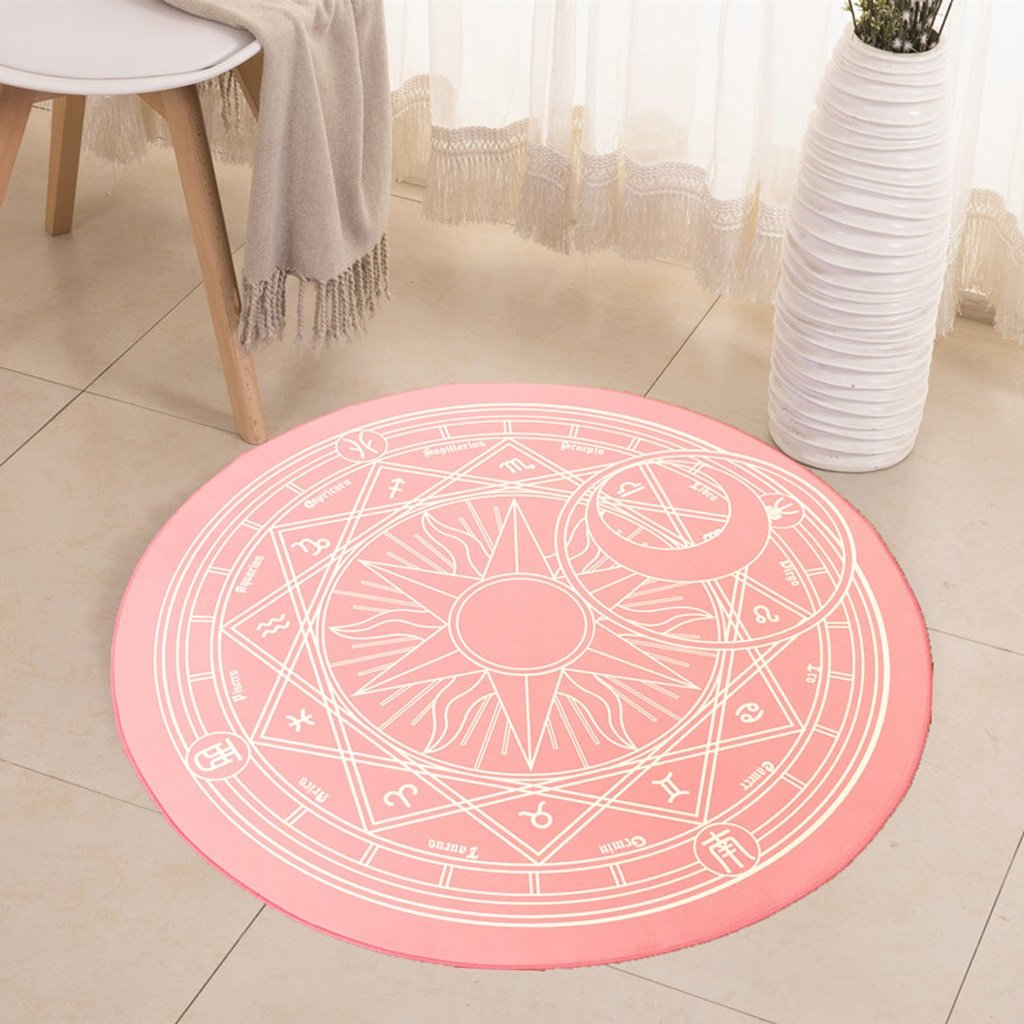 Hyun times Carpet camera magic circle round carpet children bedroom bedside cloakroom computer chair cushion ( Color : Pink , Size : 180cm )
