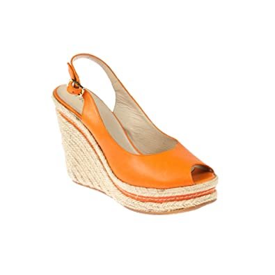 Frida Damen Keilsandaletten Wedges Leder Orange