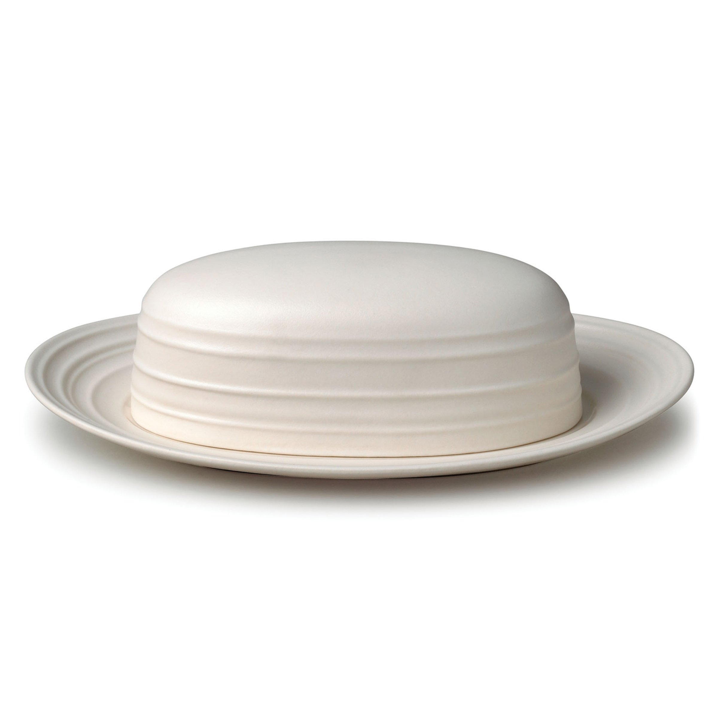 Mikasa Swirl White Covered Butter Dish, 9-Inch