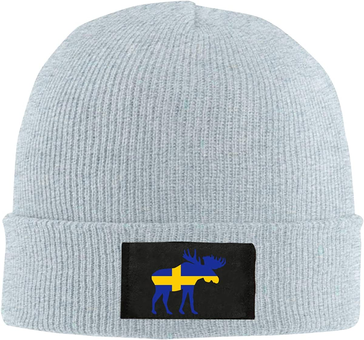 100/% Acrylic Thick Skull Cap BF5Y6z/&MA Unisex Moose Sweden Flag Knitting Hat