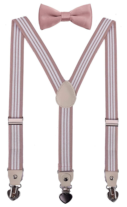 PZLE Mens Boys Suspenders and Bow Tie Set for Wedding Adjustable