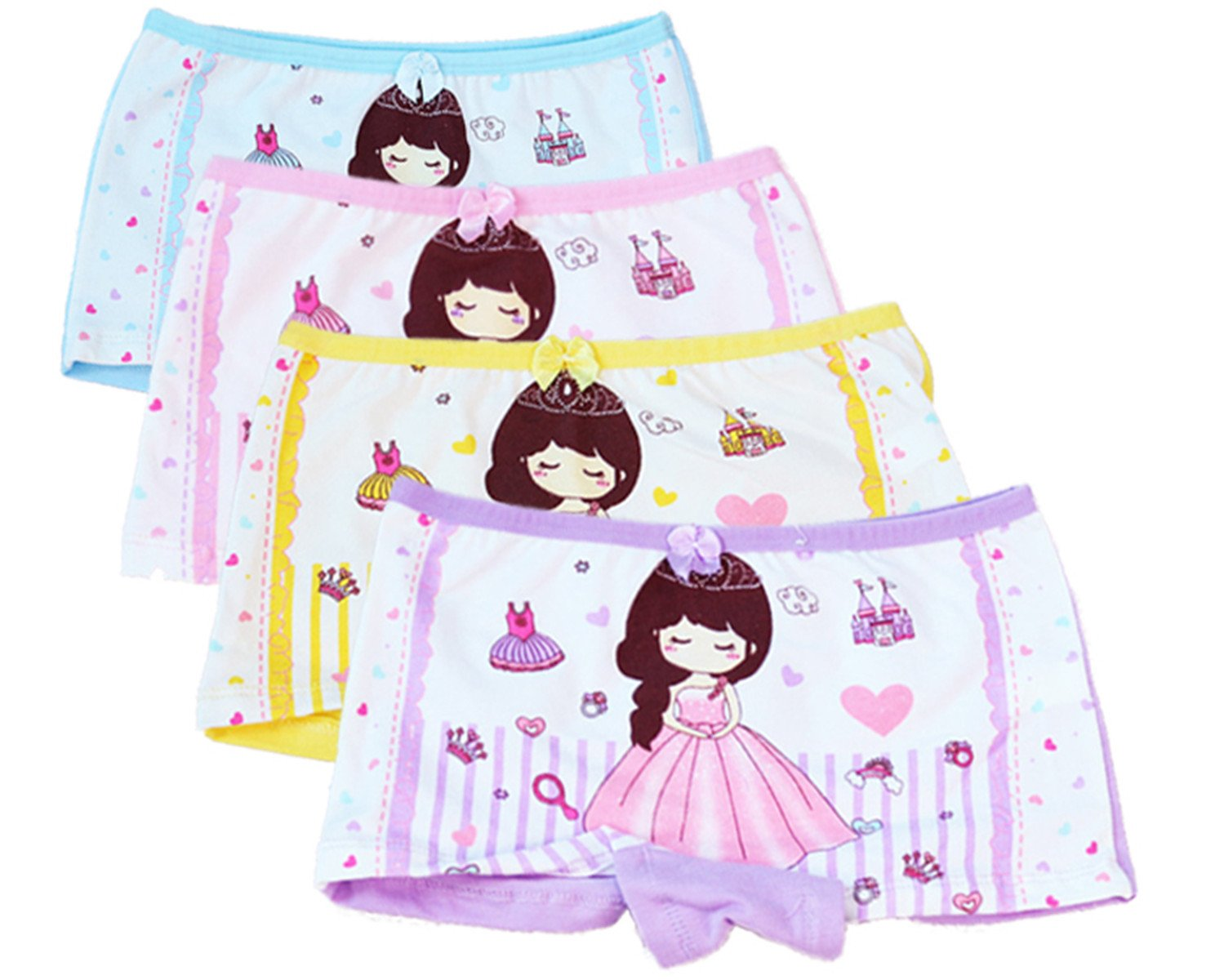 Little Girls Kids Baby Toddler 4Pcs Princess Girl Boyshort Underwear Boxers Briefs Panties