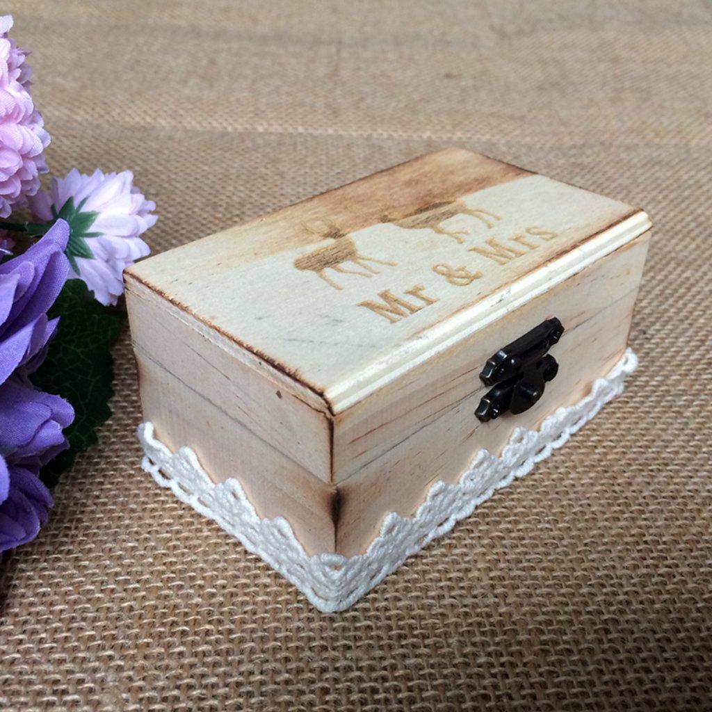 Jili Online Wedding Party Wooden Ring Bearer Box Ring Box Ring Pillow Box Lover Gift Box by Jili Online (Image #4)