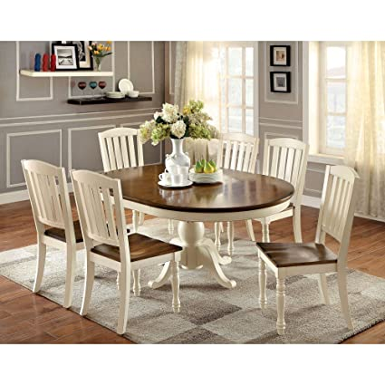 oval dining table set Amazon.  Furniture of America Besette Cottage 7 Piece Oval  oval dining table set