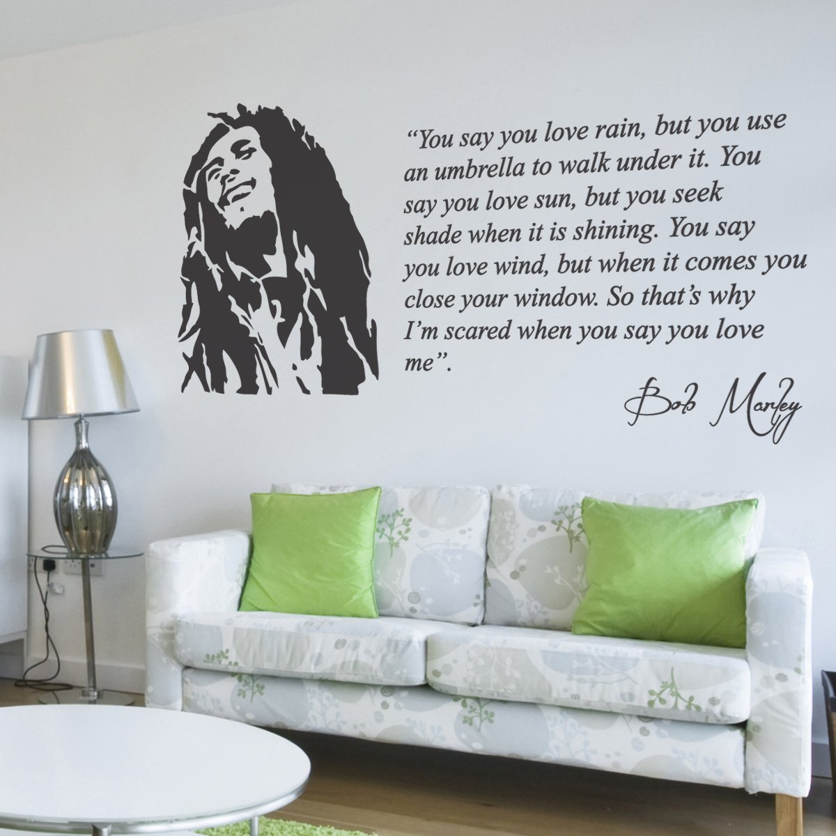 Bob Marley You Say You Love Rain Lyrics Music Quote Lounge Living Room  Hallway Bedroom Statement Wall Sticker Wall Decal Wall Art Vinyl Wall Mural    LARGE ... Part 55