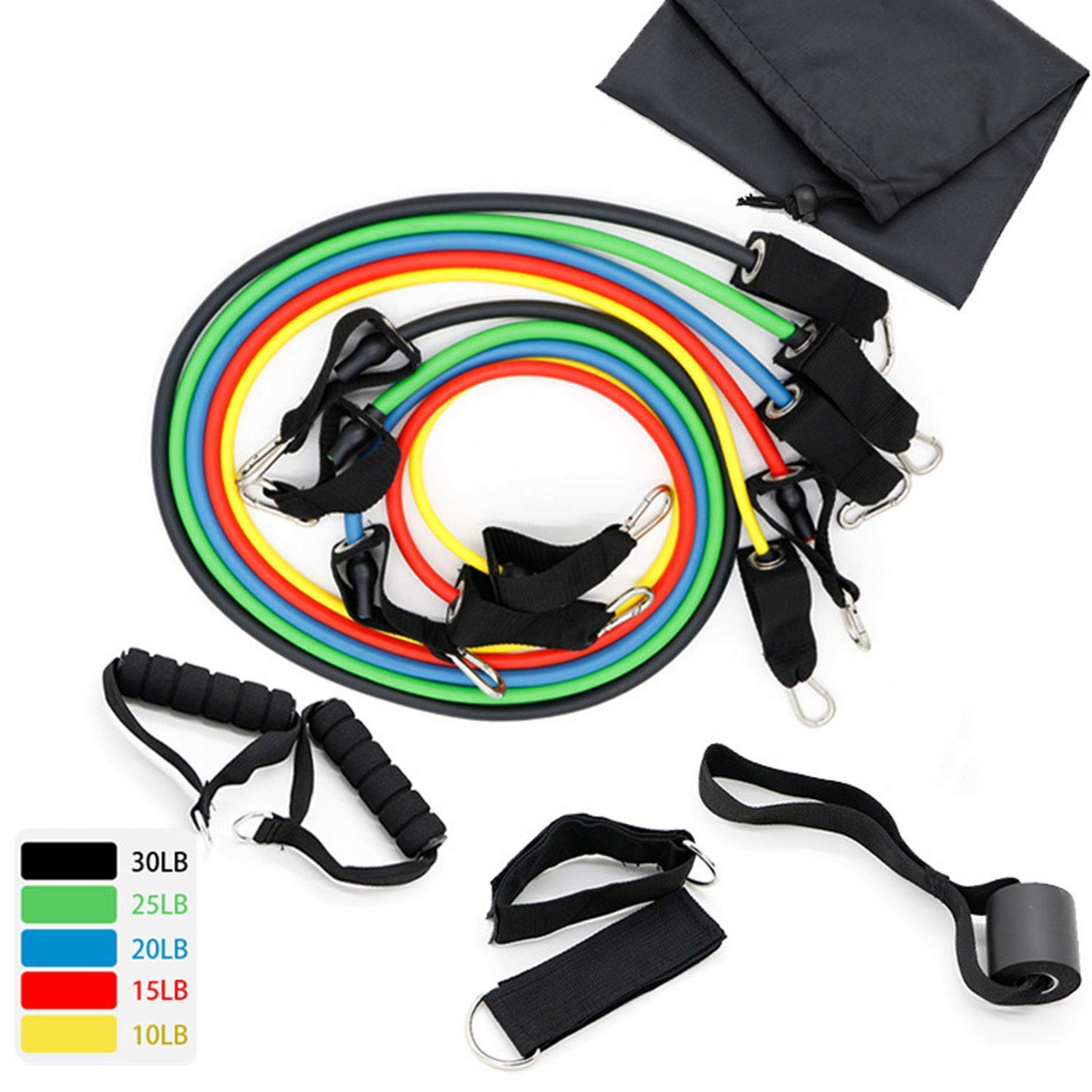 100 LB Traction Rope, 11 Pieces Traction Rope Set, Latex Traction Rope, Fitness Puller