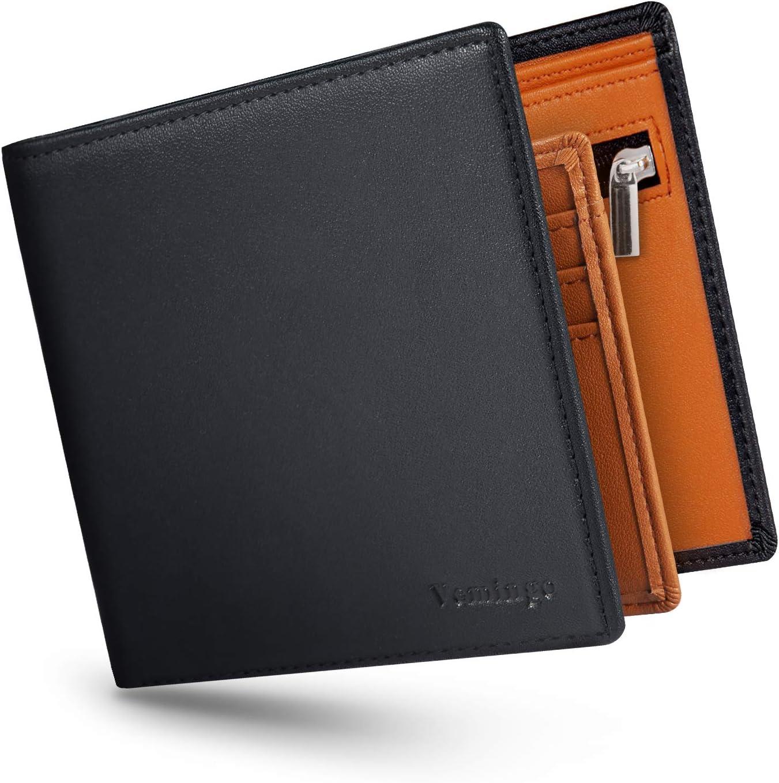 Vemingo Cartera para Hombre con Clip,Monedero con RFID Bloqueo para Tarjetas de Crédito Portamonedas Ligeros para Hombre/Adolescente (Xb-045 Negro y Marrón)