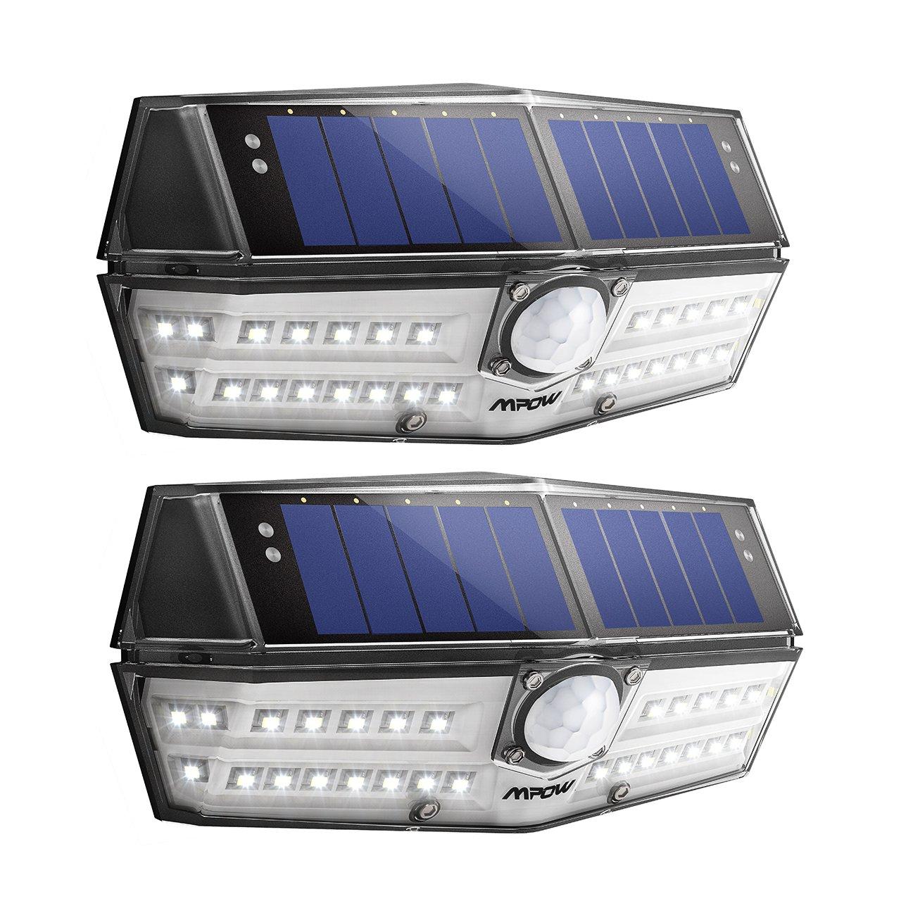 Mpow Generación 30 LED Luz Solar IP66 Impermeable, Iluminación de 270º, Sensor de Movimiento de 120°, Lámpara Solar de Pared Brillante para Jardín, Entrada, ...