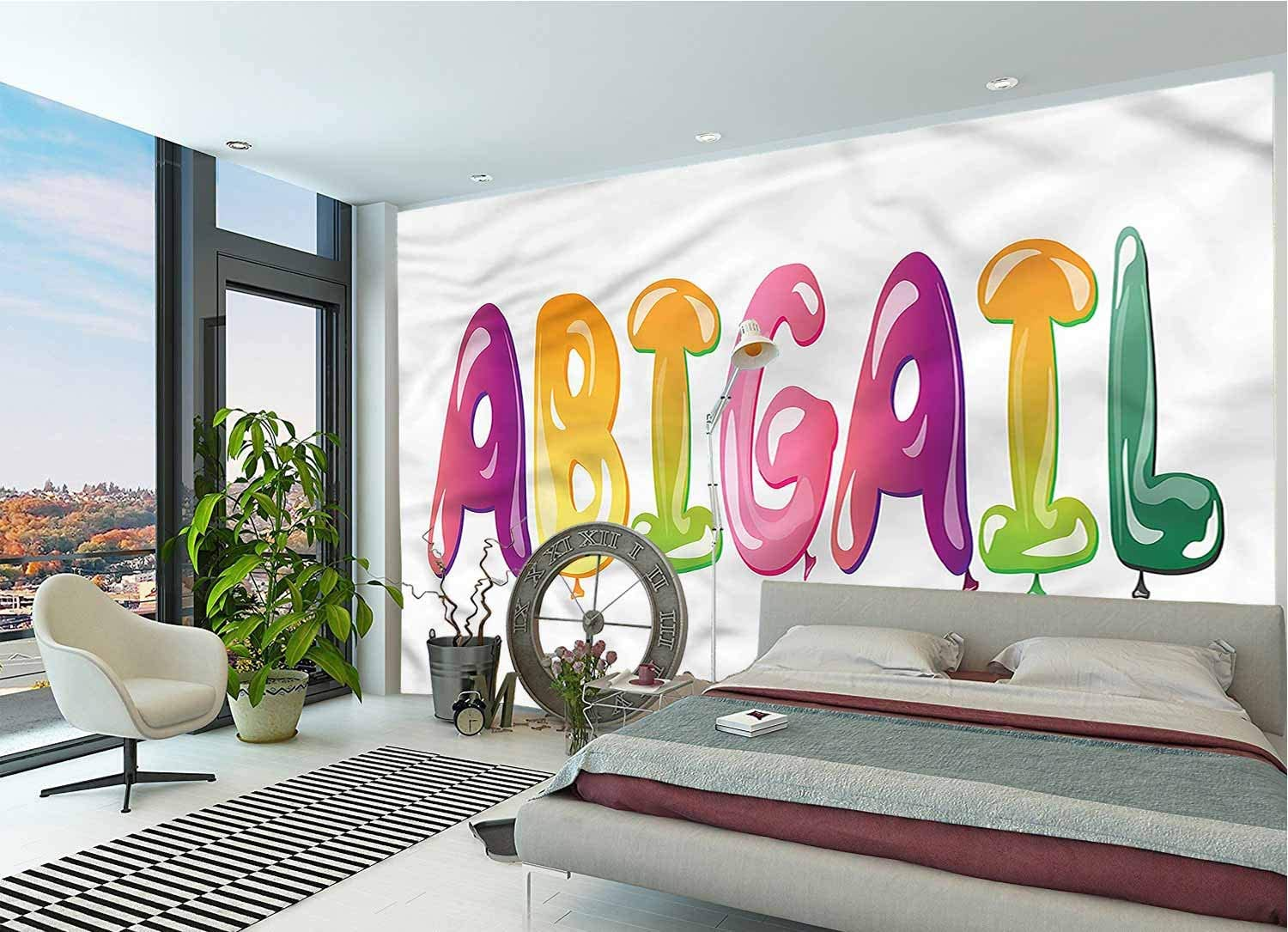 LCGGDB Abigail Large Wall Mural,Fathers Joy Girl Name Removable Large Sticker Foil Wall Decor for Office Kids Bedroom Nursery Family Decor-144x100 Inch