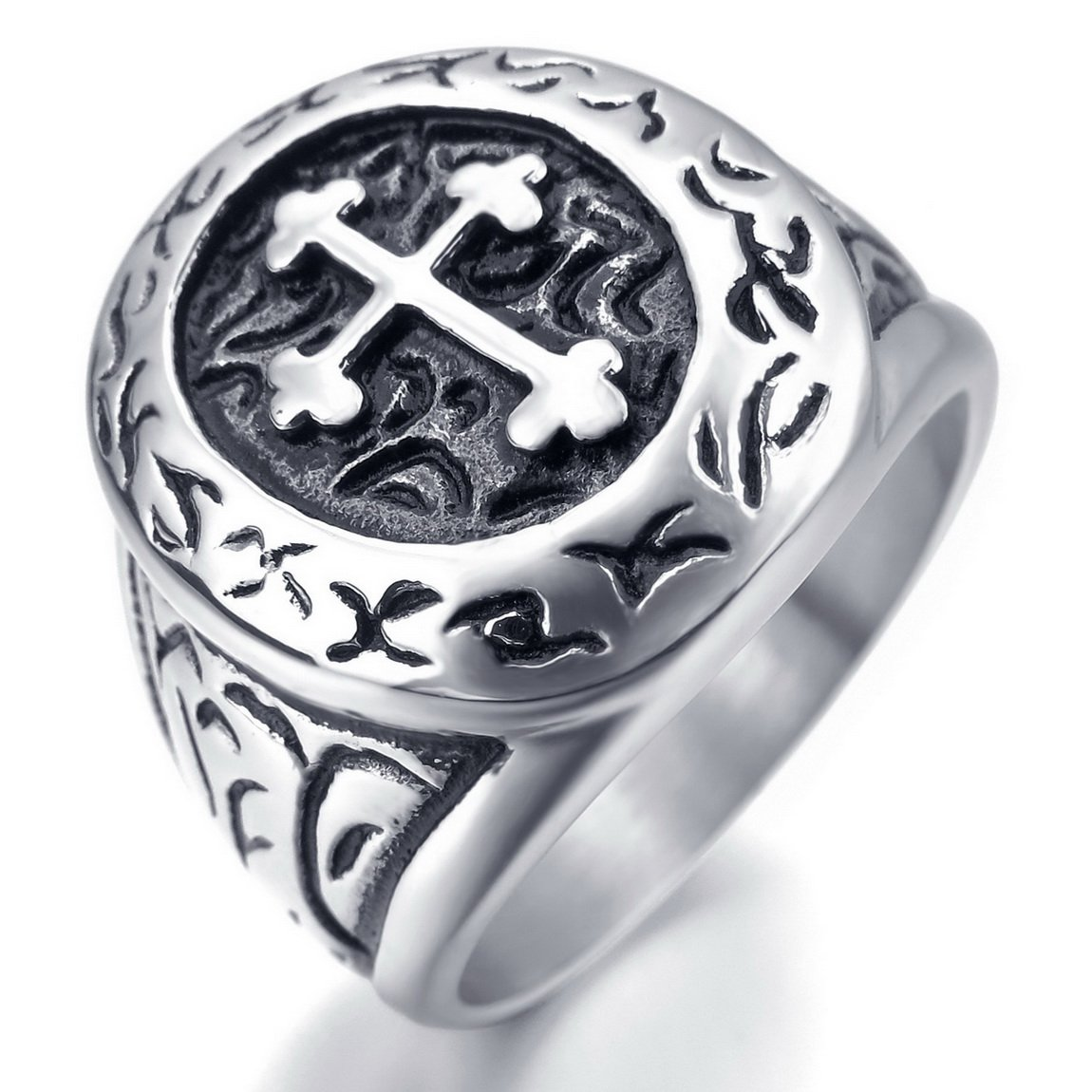 INBLUE Men's Stainless Steel Ring Silver Tone Black Cross Oval Size10 by INBLUE (Image #1)